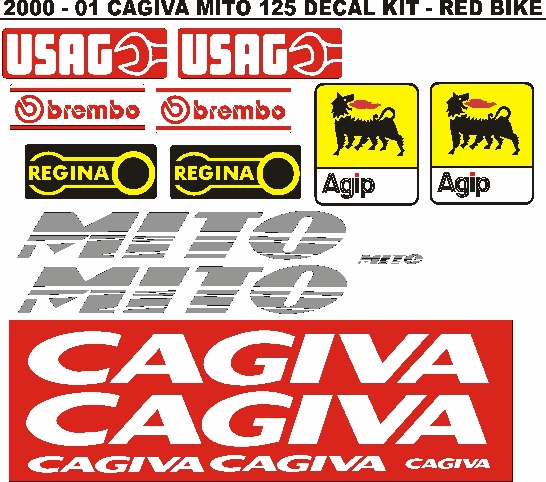 2001 Cagiva Mito 125 decals stickers vinyl cut graphics sets