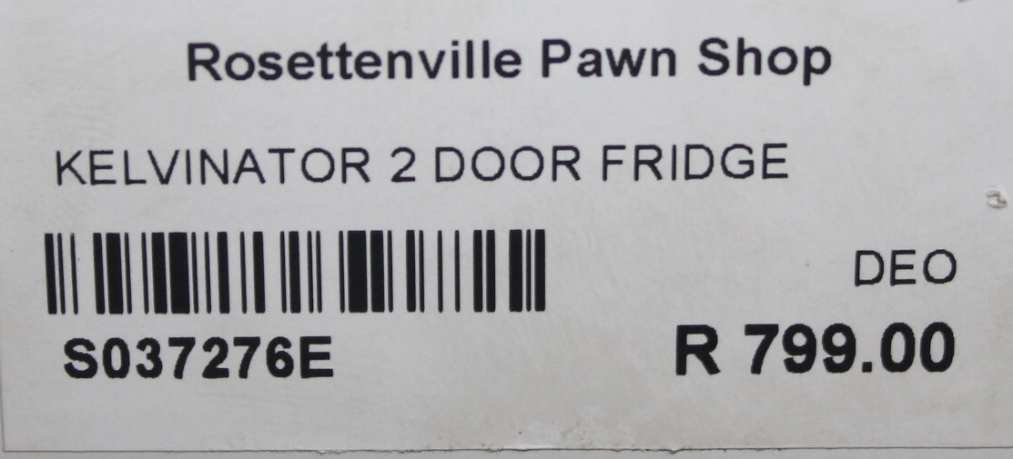 Kelvinator 2 door fridge S037276E #Rosettenvillepawnshop