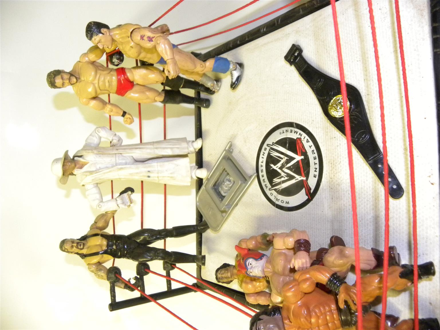 WWE Wrestling figurines and ring