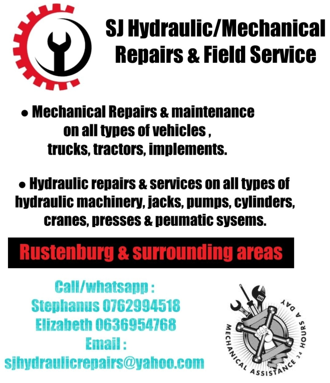 Repairs & maintenance on all types of hydraulic/pneumatic systems