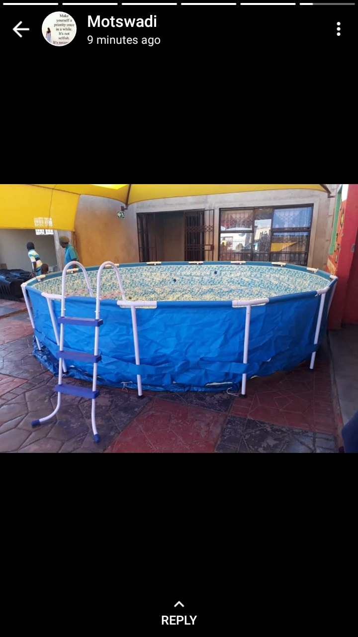 Advert for Swimming pool, Trampoline and artificial lawn for hire