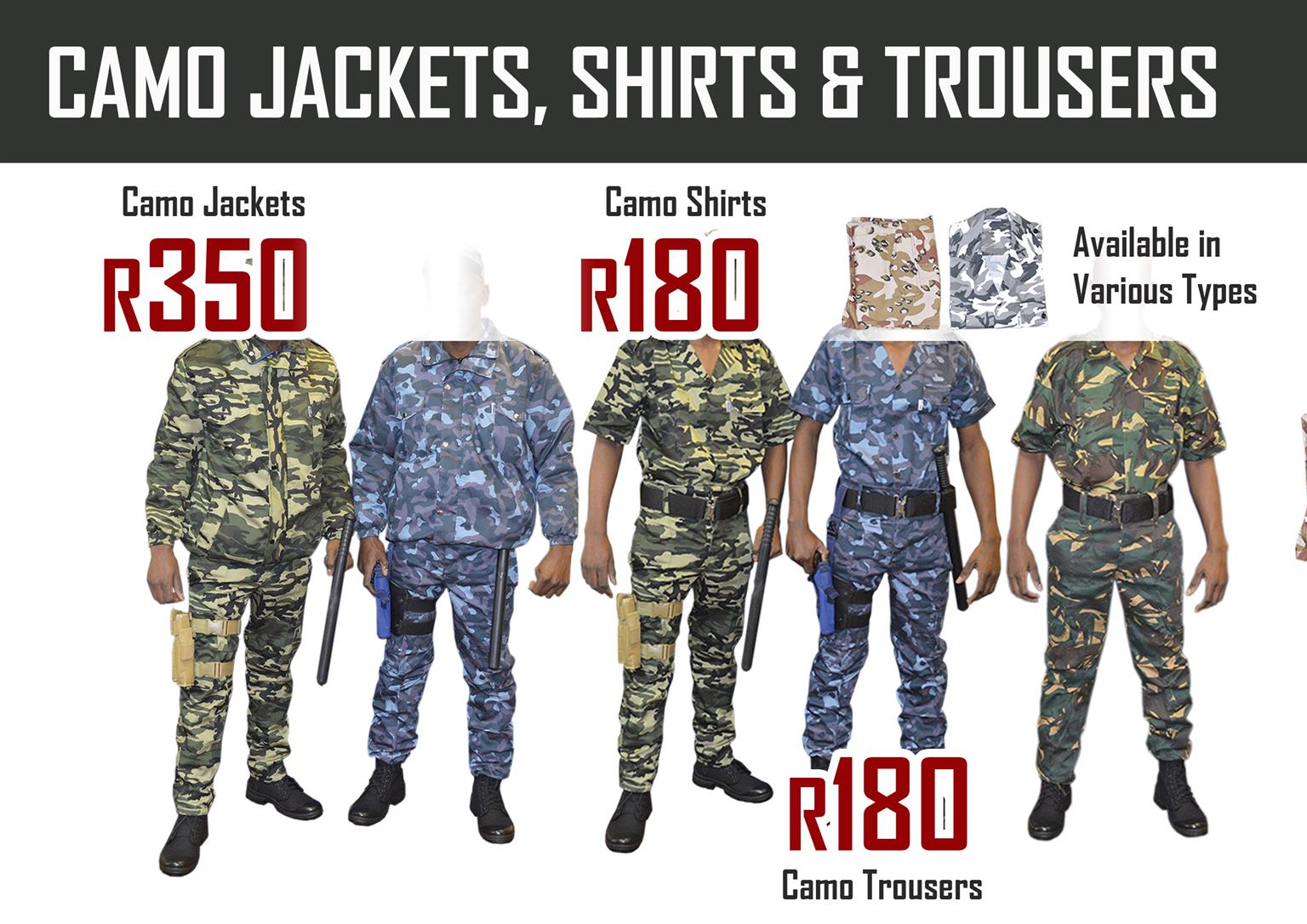 Camo trousers and shirts