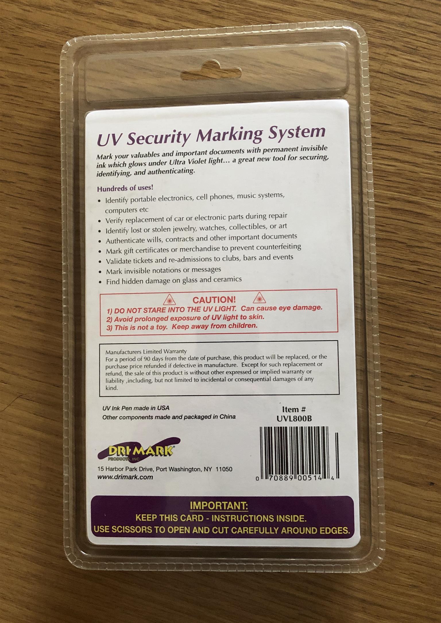 UV security marking system pen