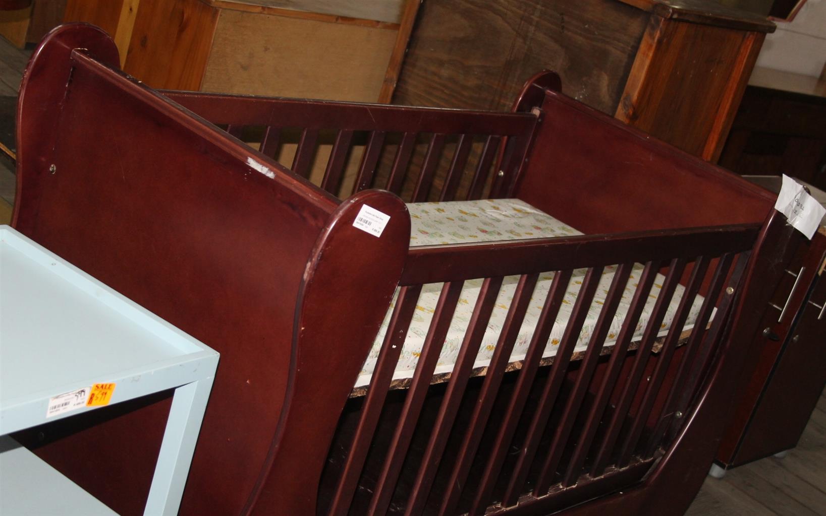 Brown wooden baby cot S041830A #Rosettenvillepawnshop