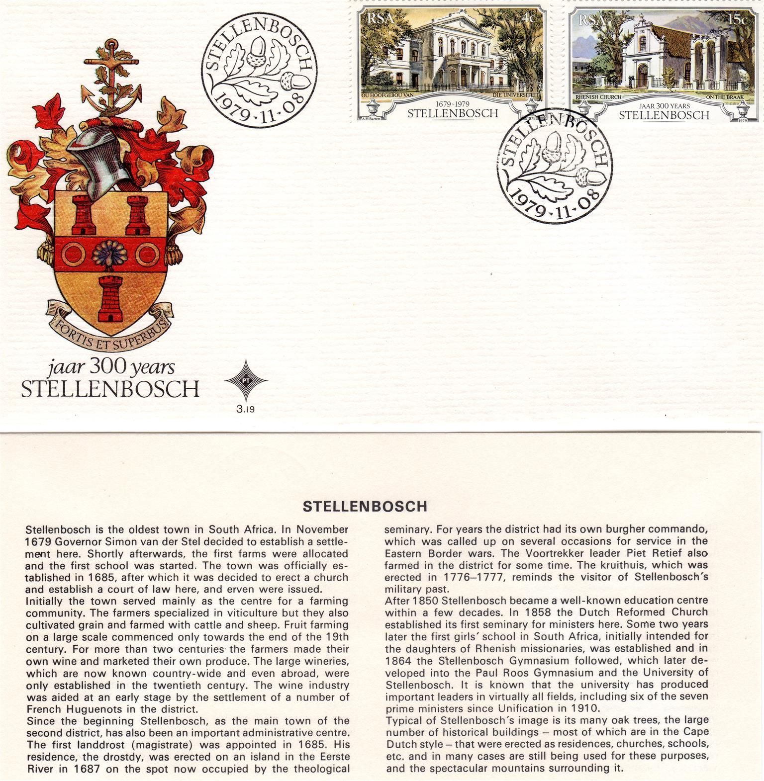 Commemorative Stamp & Envelope Set - 300 Years Stellenbosch 1979