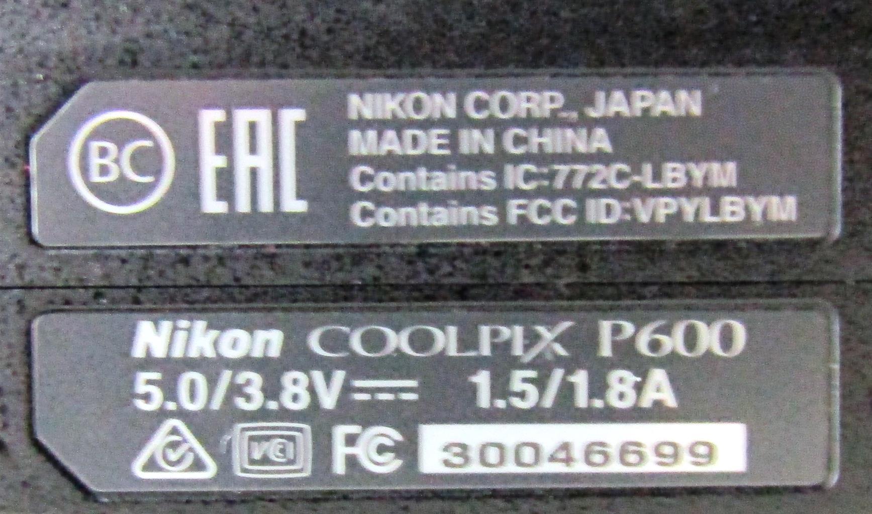 Nikon Coolpix P600 Ultra Zoom - NOT WORKING!