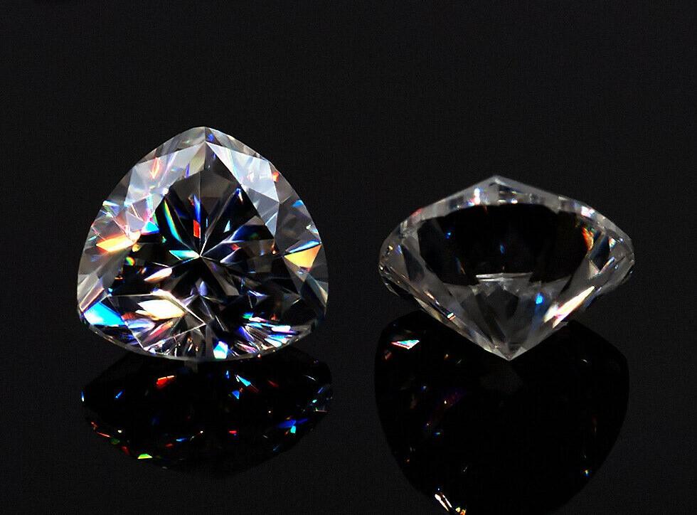 Certified White D Color 1 carat Trillion Cut VVS1 Moissanite Stone Loose