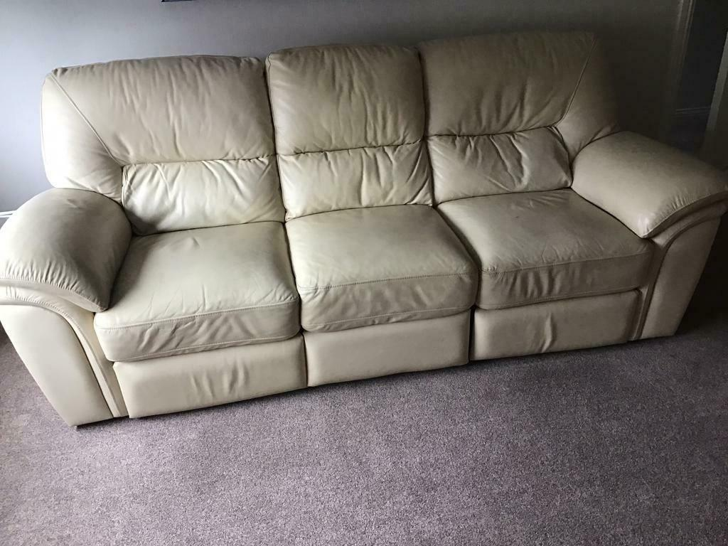 2+3 seaters genuine cream leather for sale.urgent sale!