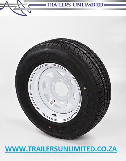 "TRAILER AND CARAVAN TYRES. 14"" RIM AND TYRE COMBO.   6 STUD - 140 PCD SPECIAL PRICE. R1095.50 EXCL."