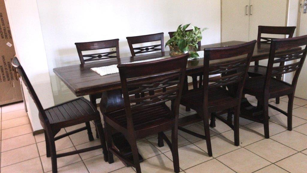 DININGROOM SUITE. SOLID WOOD WETHERLYS TABLE AND 8 x SOLID CHAIRS. Rare find