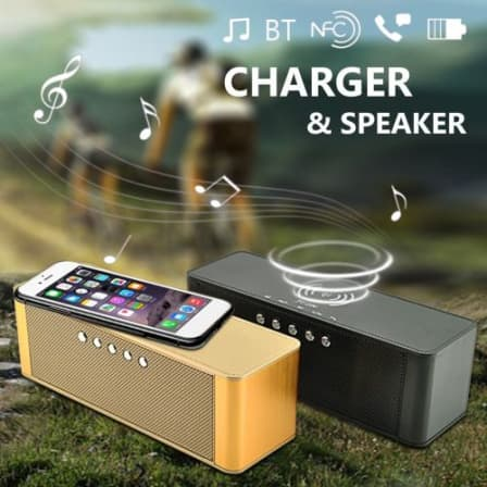 Bluetooth Speaker with Wireless Charging Pad