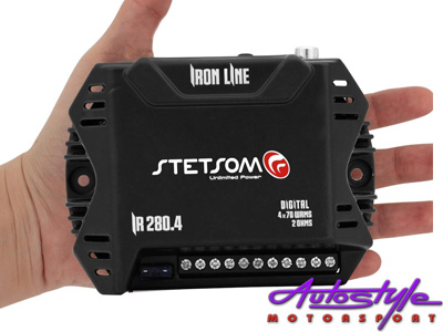 Stetsom Iron Line Micro Amplifier 100x2ch 200x1ch  Number of Channels 3 RMS Power at 2 Ohm 13.8V 2 x 70W RMS Stereo /