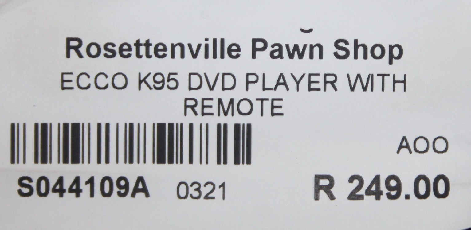 Ecco dvd player with remote S044109A #Rosettenvillepawnshop