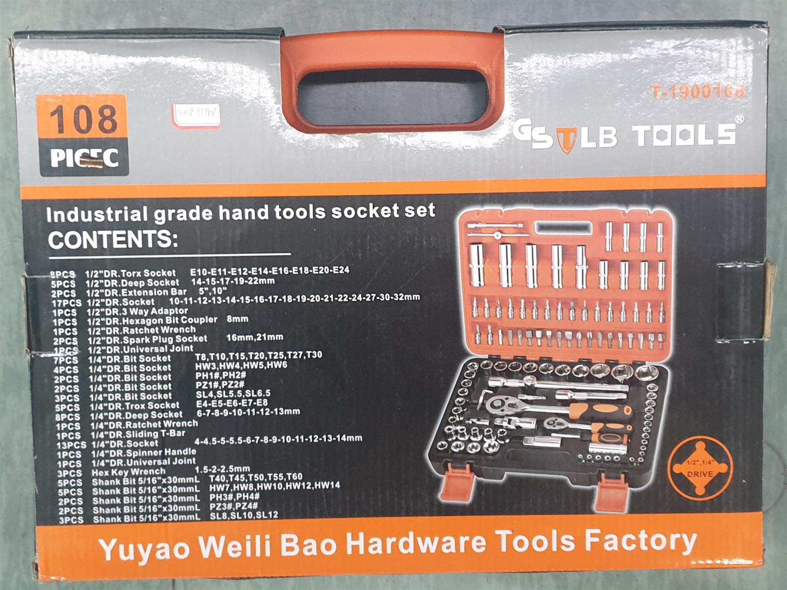 WShop Tools 108 Pieces Industrial Grade hand tools and socket set
