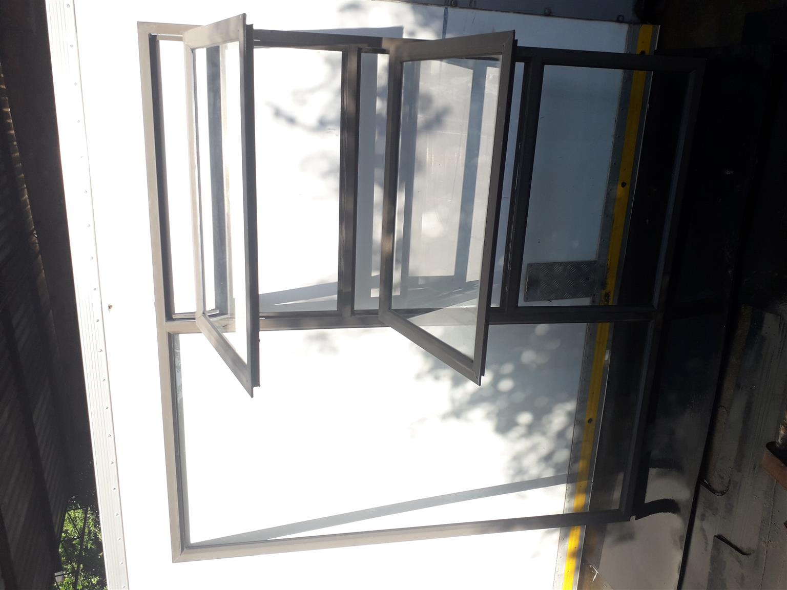 Aluminium windows and sliding door.