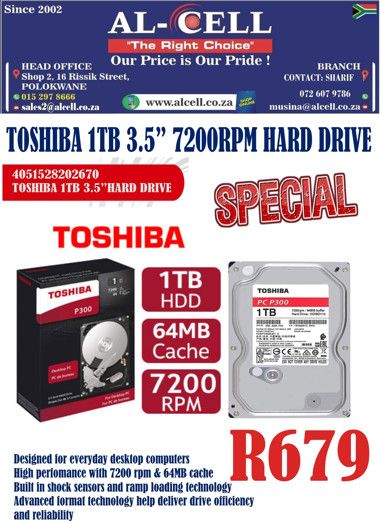 Toshiba 1TB 3.5″ Inch 7200 RPM Internal Hard Drive
