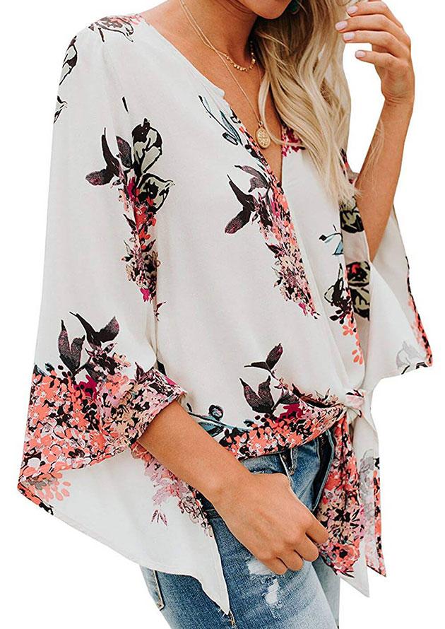 Angel Sleeve Floral Blouses