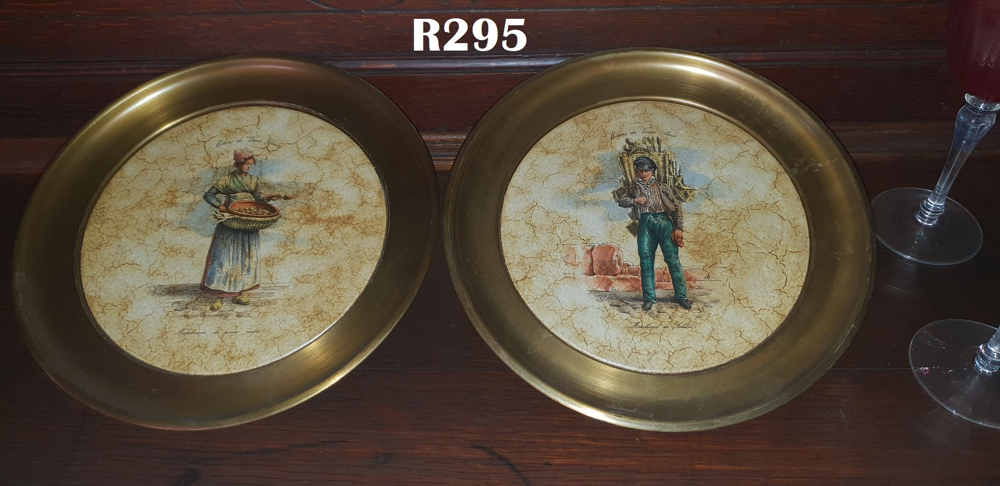 2 x Italian Brass and Pottery Plates