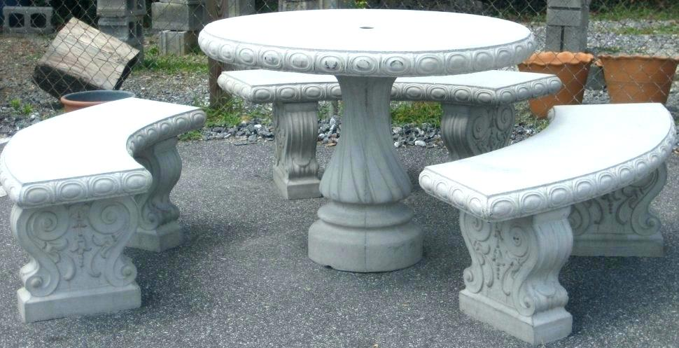Swell Concrete Patio Set Outdoor Table 1 And Benches 3 Pdpeps Interior Chair Design Pdpepsorg