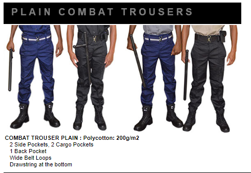 Security plain combat trouser