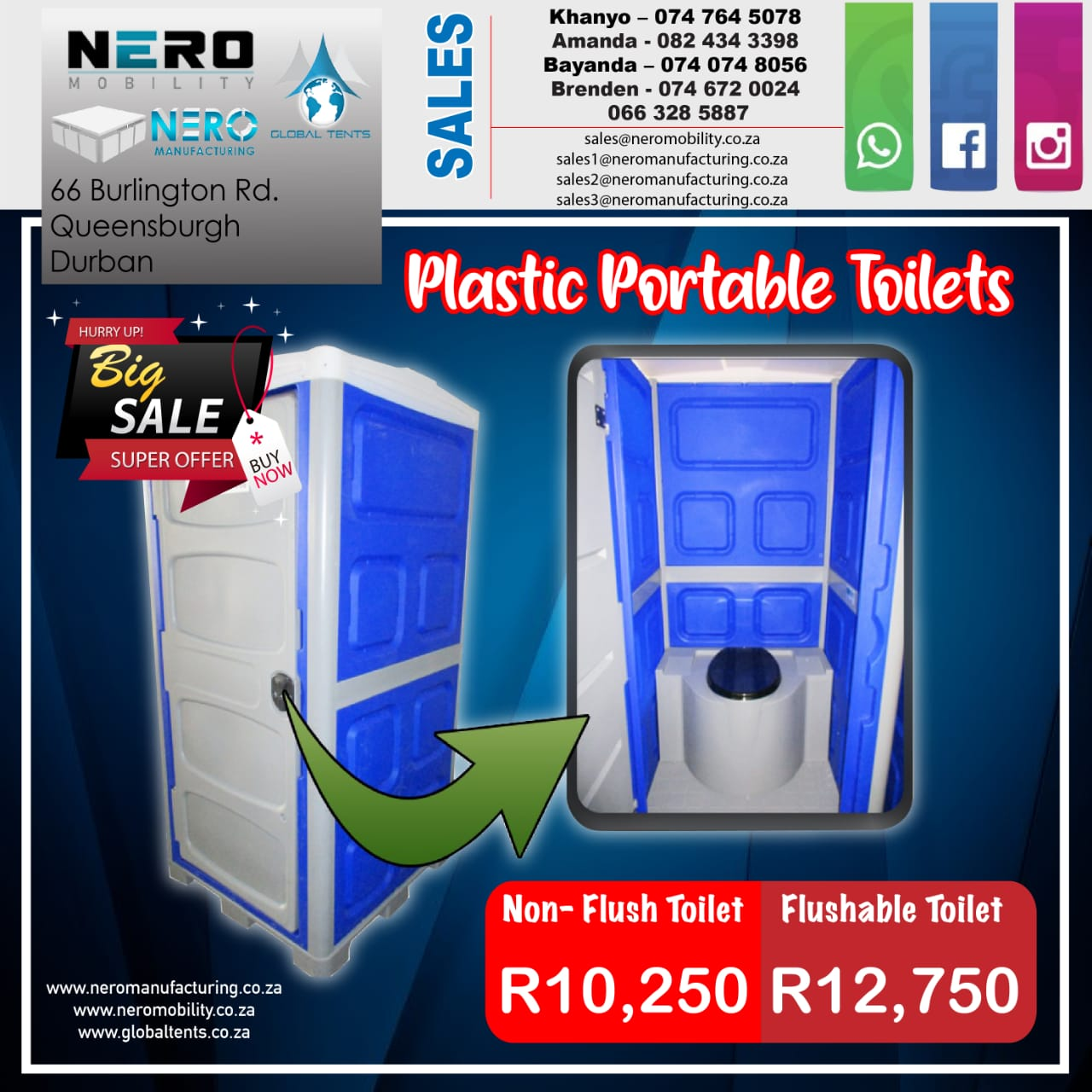 plastic portable tiolets