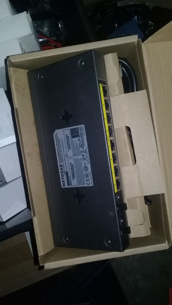 8 port plus 2 PoE Gigabit switches. Brand new, in boxes. Various types and sizes available.