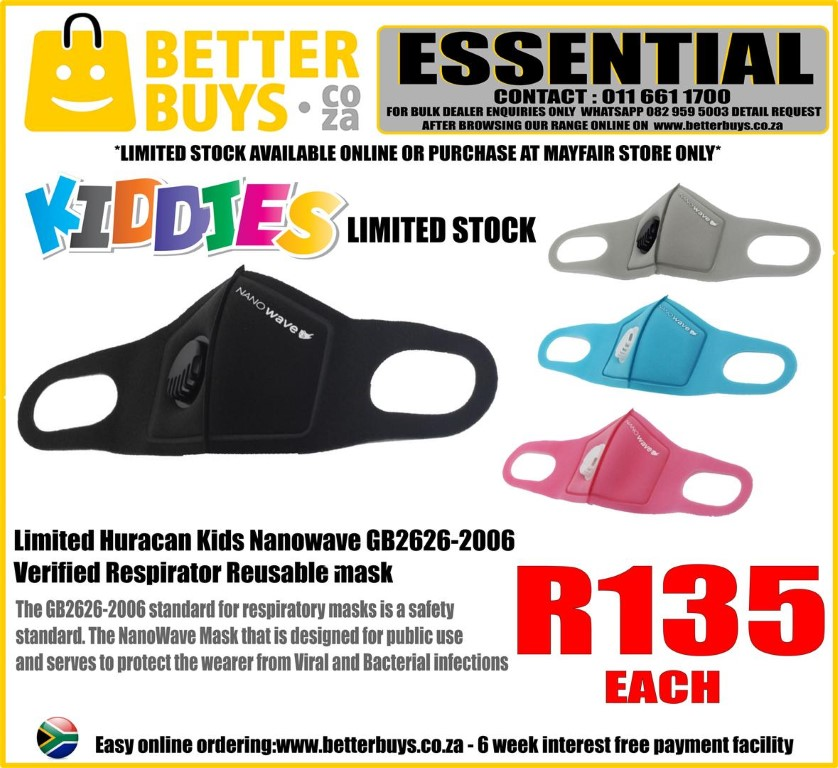 Limited Huracan Kids / kiddies Nanowave Verified Respirator Reusable mask washable
