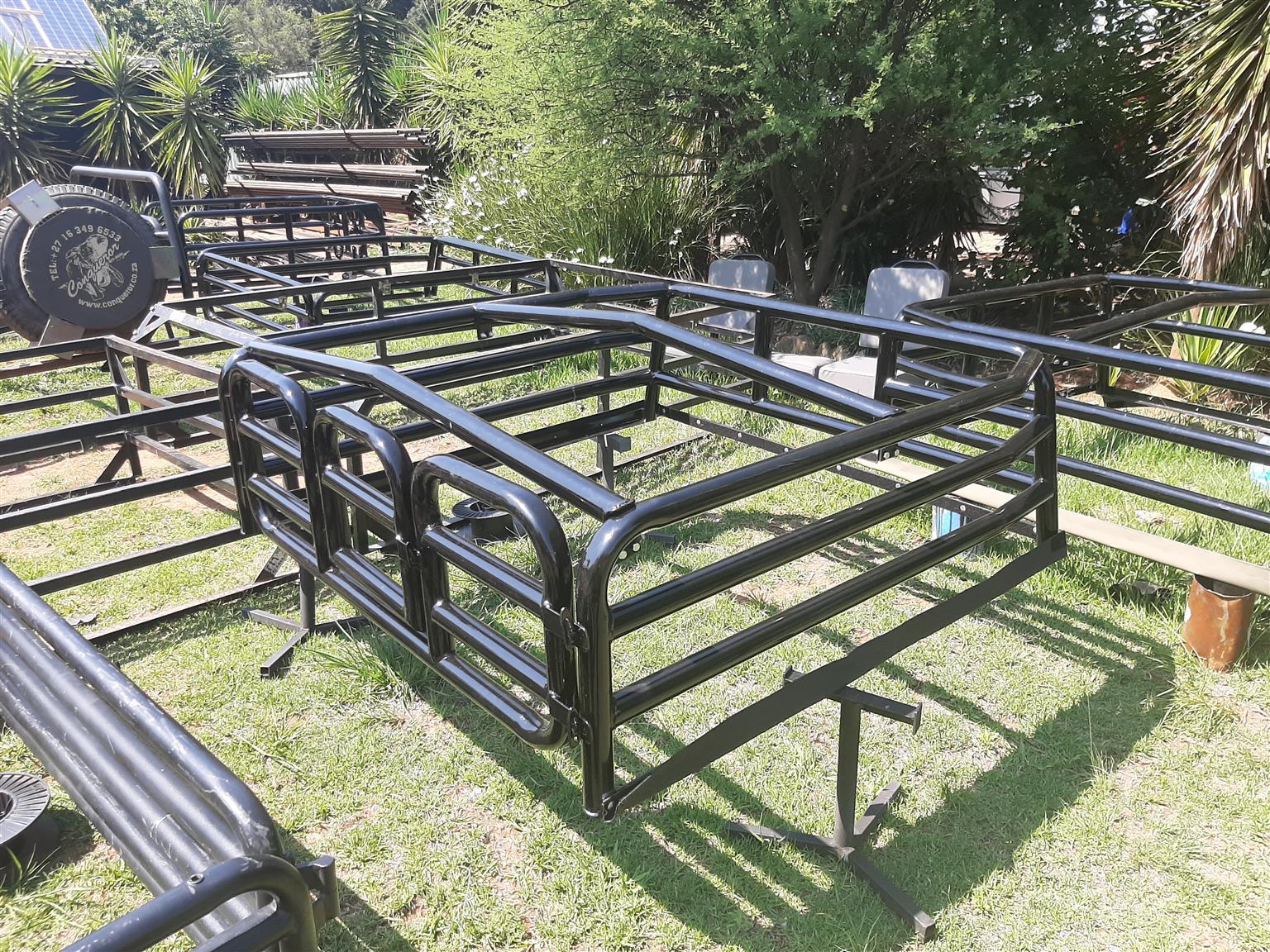 Isuzu DC cattle rails and canvas canopy