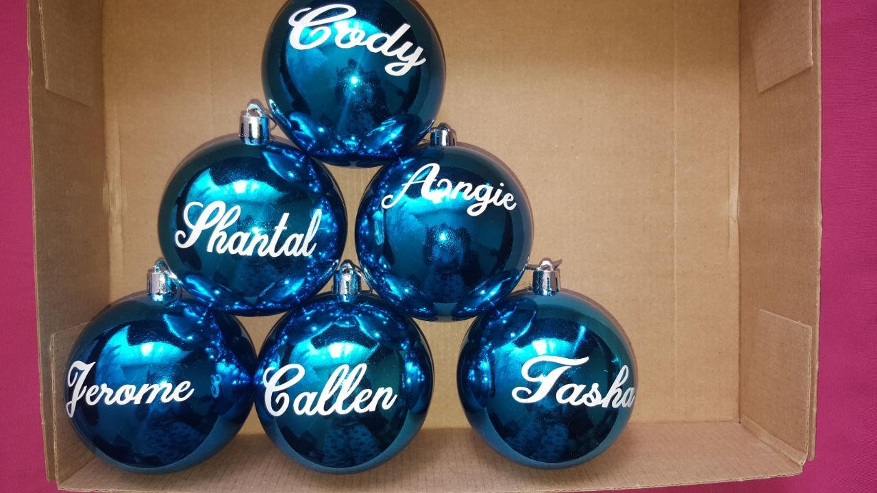 CHRISTMAS Bauble STICKERS - R30 for 4 names