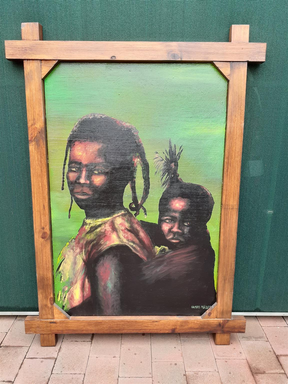 African lady and baby painting