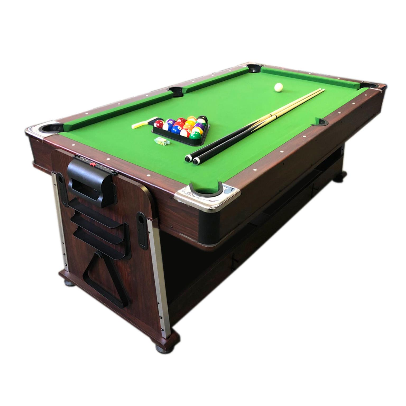 4 in 1 - 7Ft Green Pool Table + Air Hockey + Tennis Table Tennis + Dinner table