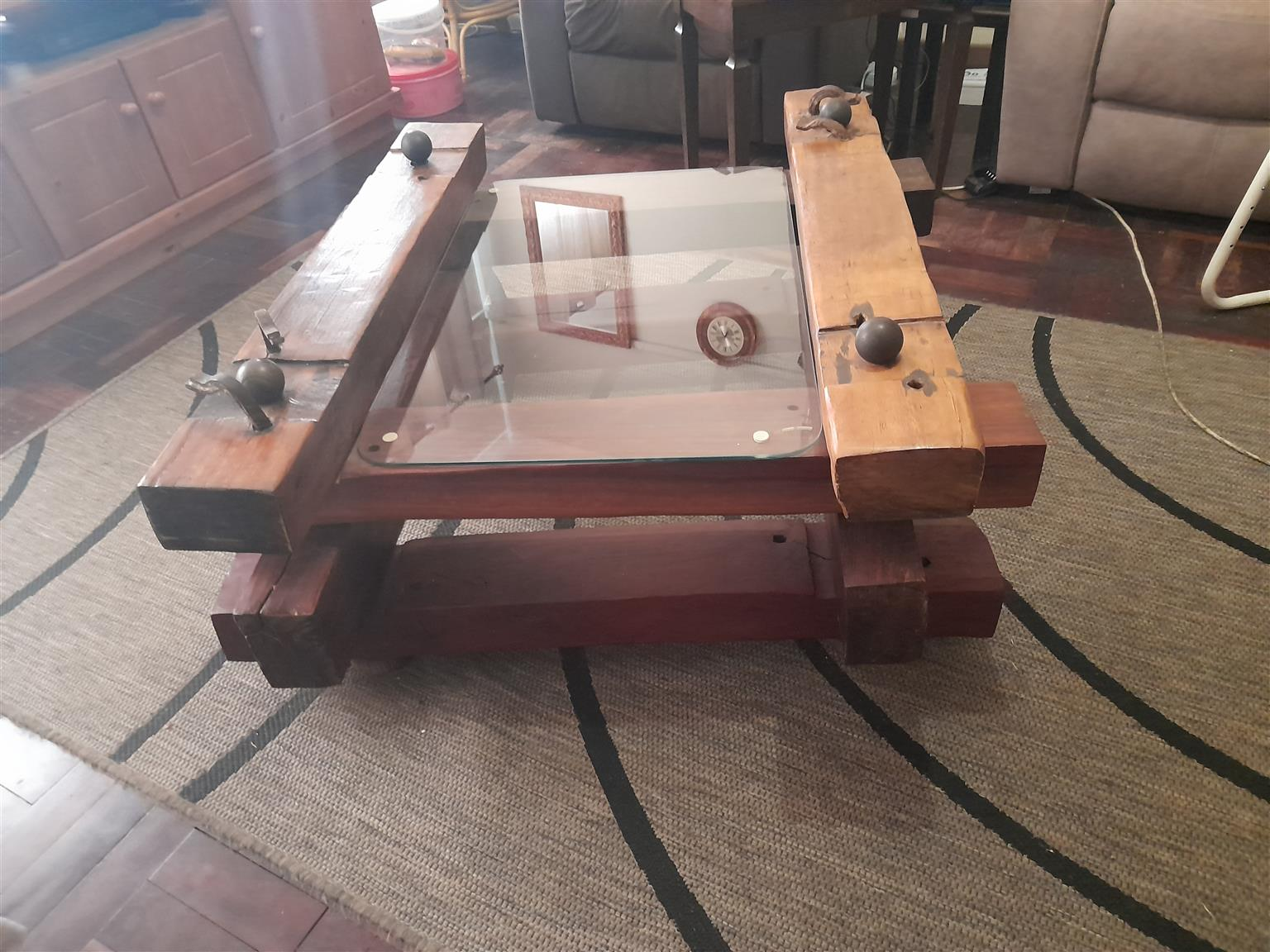 One of a kind Solid Sleeper Wood Table with loose  glass table top.