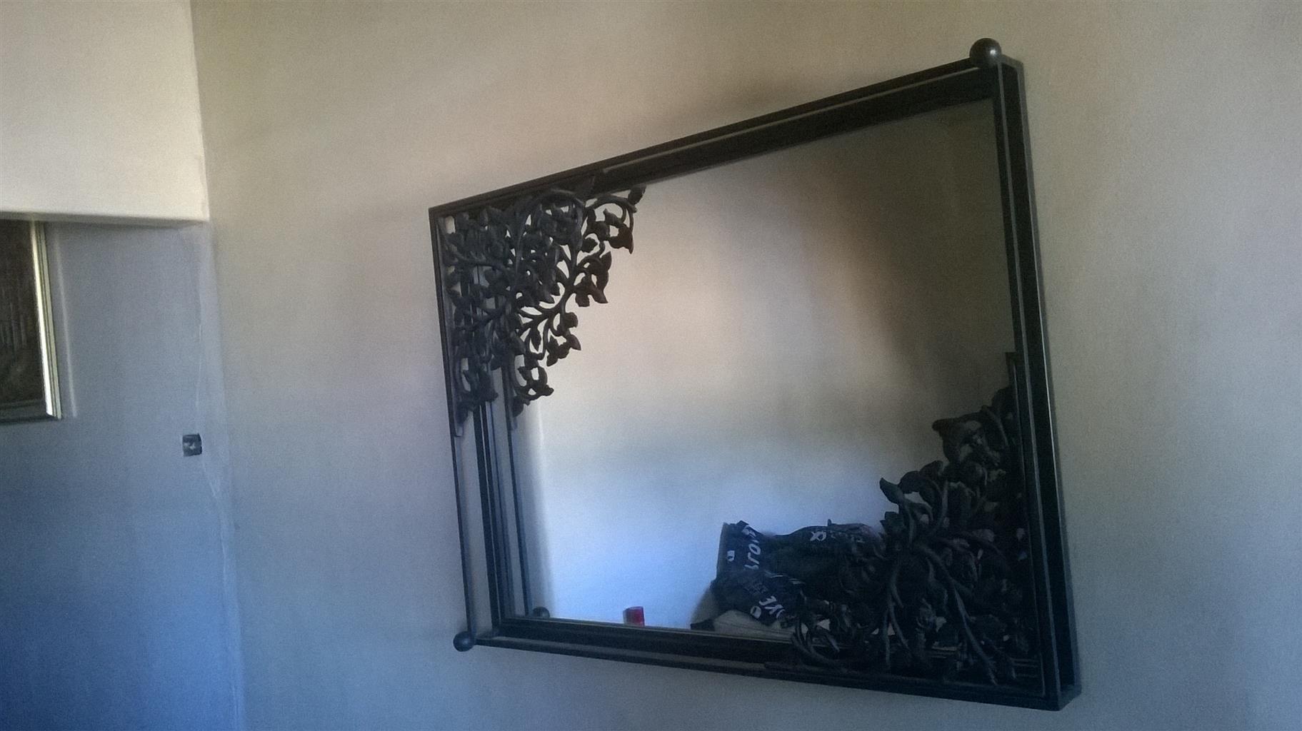 Glass mirror wrought iron