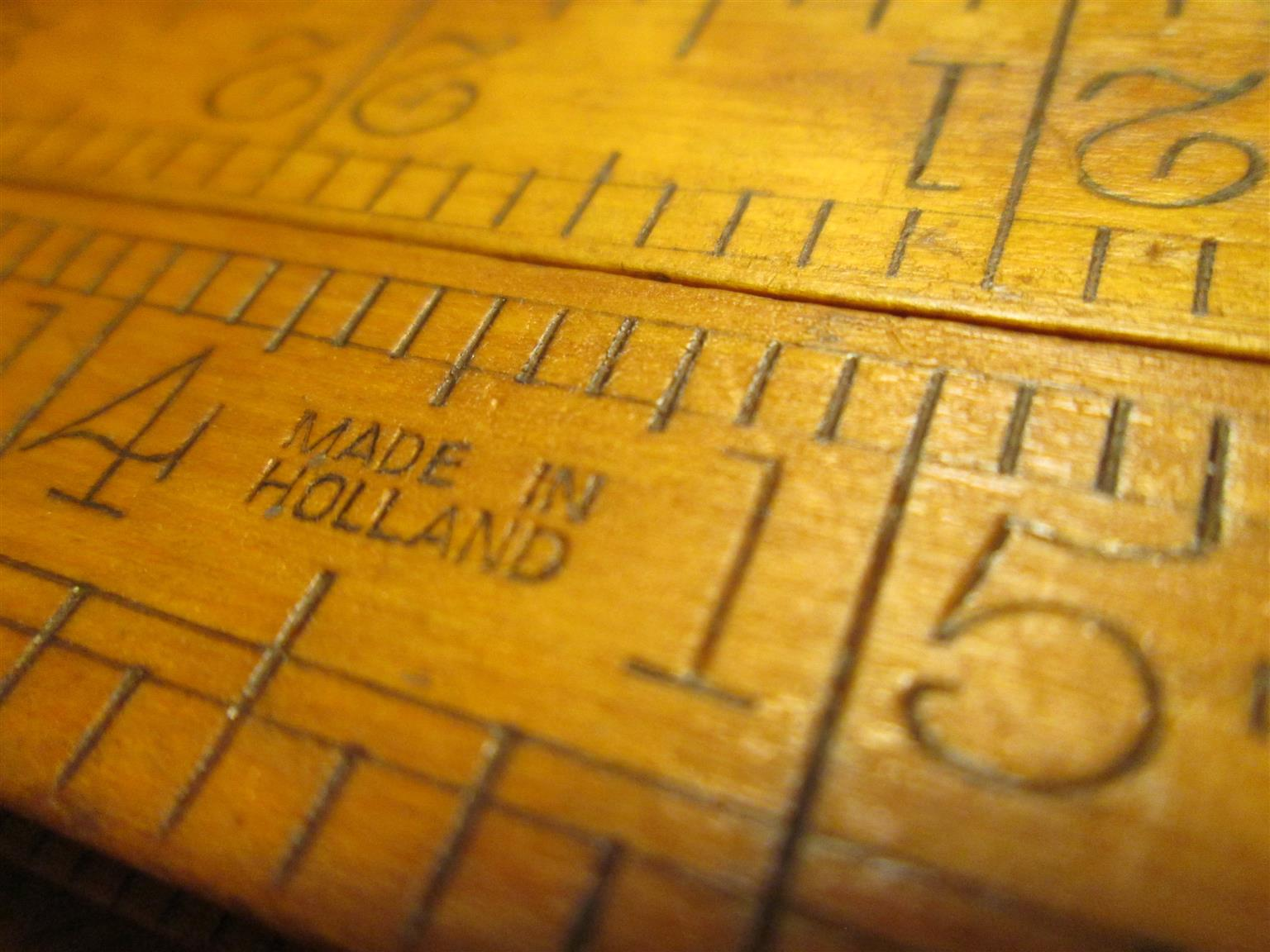 Vintage folding ruler: Sybren Boxwood & Brass, 3 feet, 4 segments, Holland, collectable tool
