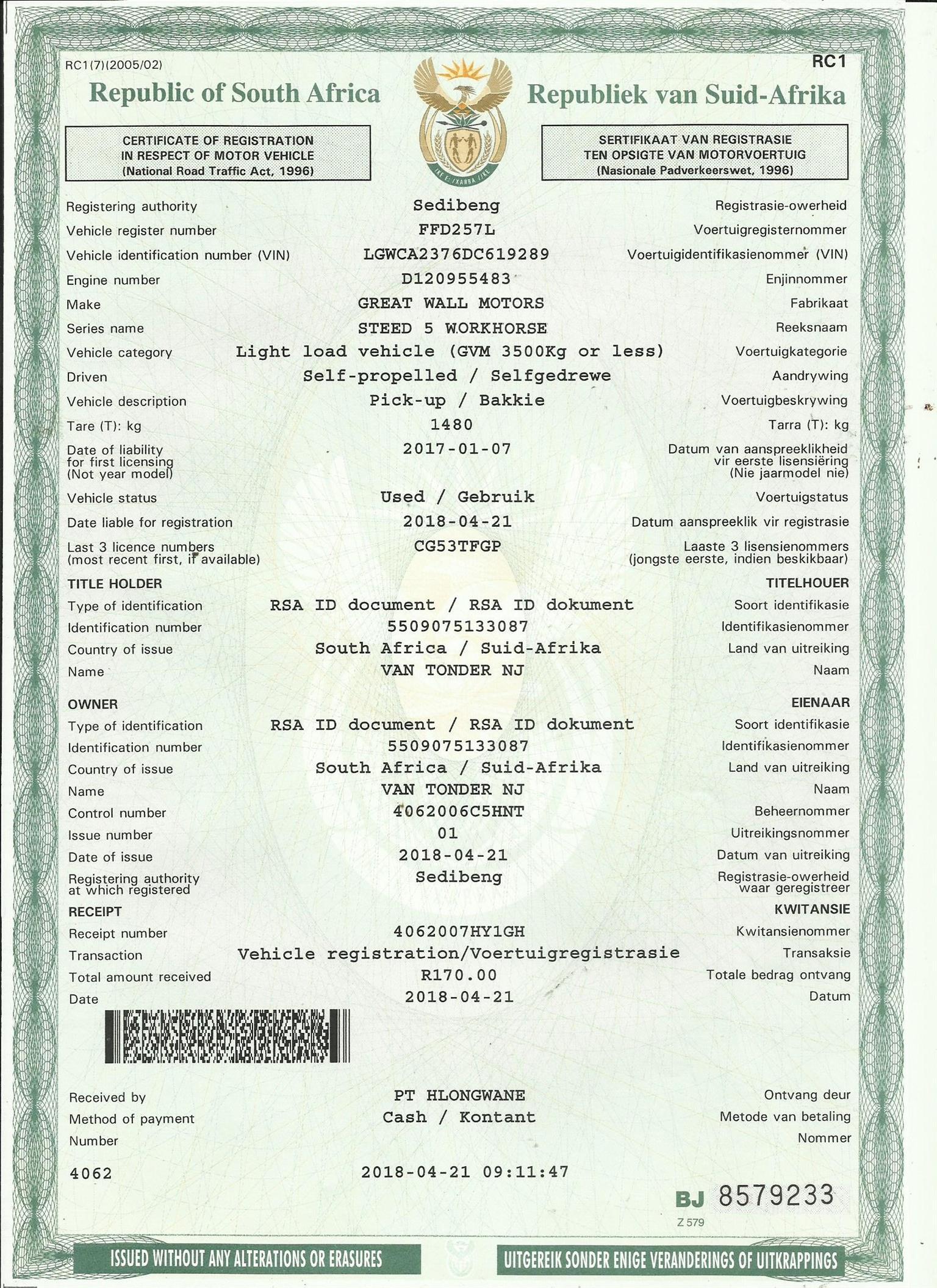 2013 GWM Steed 5 single cab STEED 5 2.2 MPi WORKHORSE P/U S/C