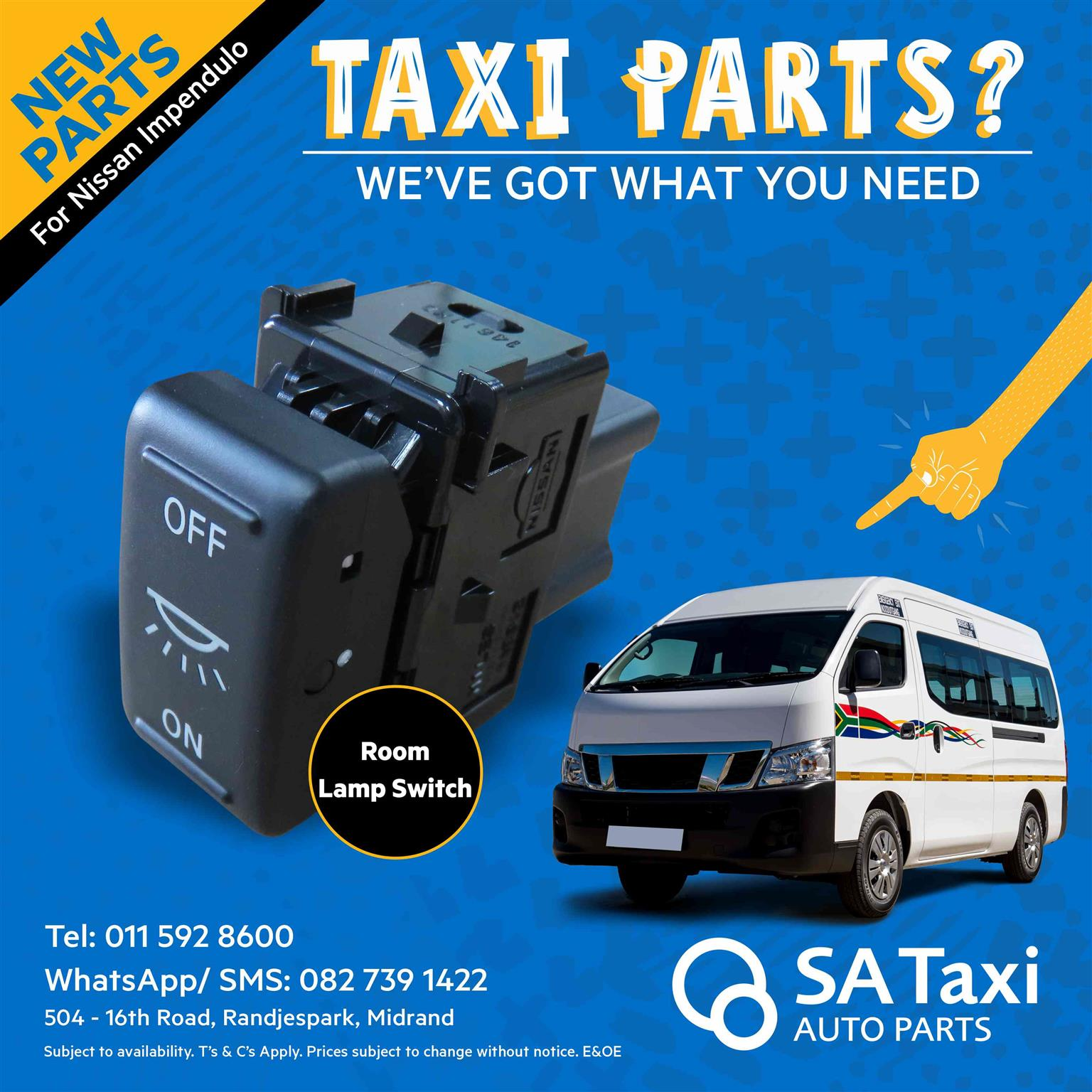NEW Room Lamp Switch suitable for Nissan NV350 Impendulo - SA Taxi Auto Parts quality spares