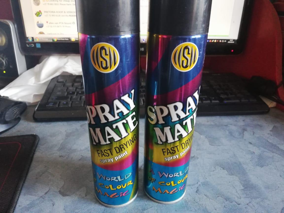 Spray Mate 250ml Gloss Black fast drying spray paint