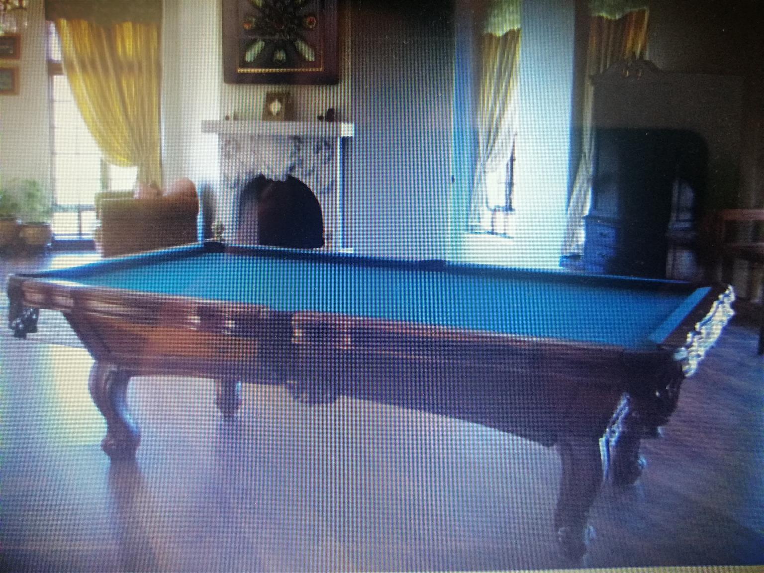 Solid carved wood, slate pool table