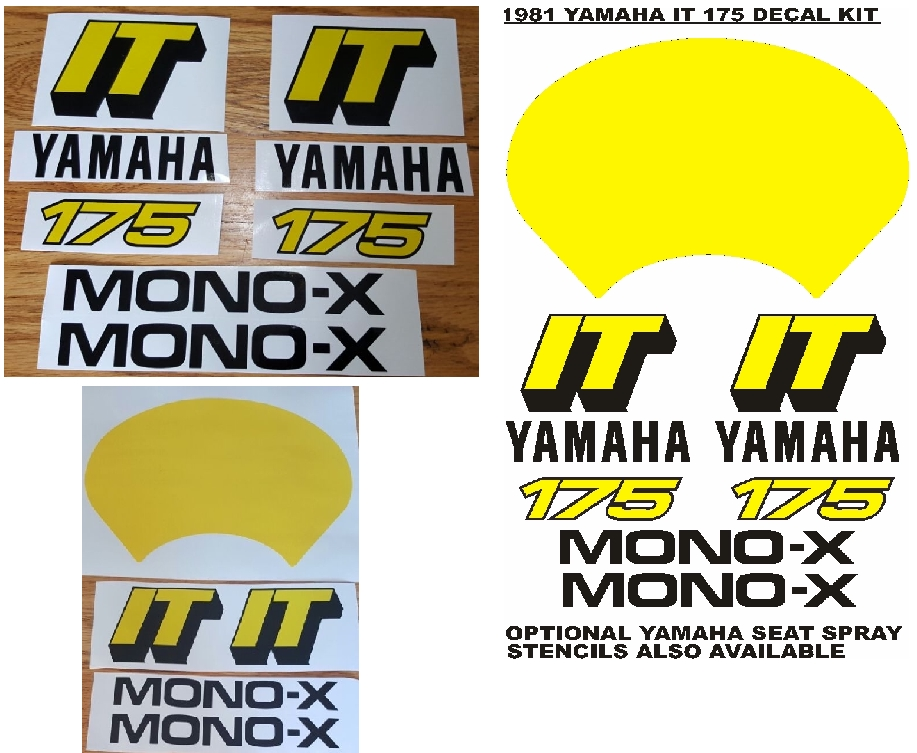 1981 Yamaha IT 175 decals stickers graphics kits.