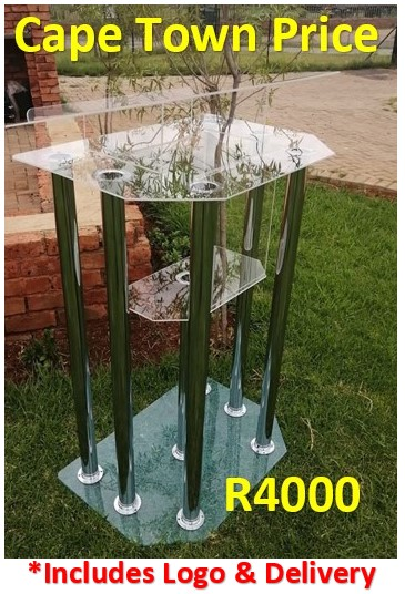 Elegant 6 Legged Silver Tubes Perspex Double Top Pulpit