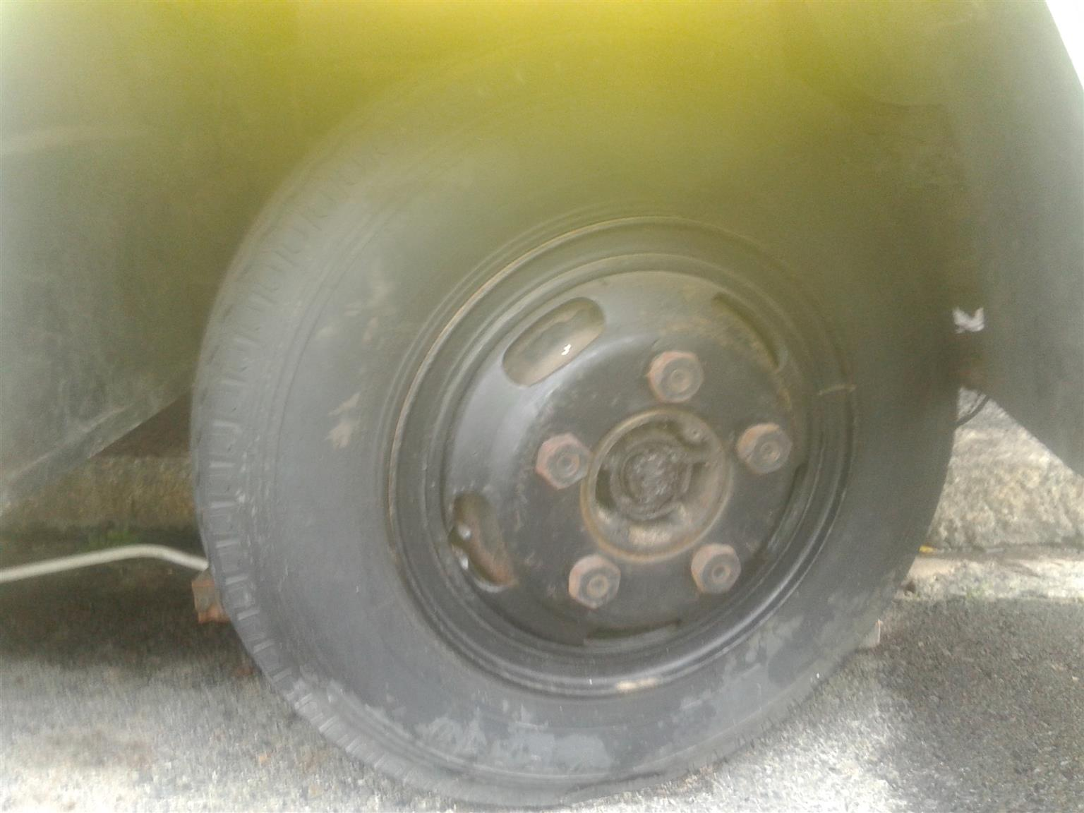 Rims and tyres for Toyota Dyna with 5 holes for sale R 1000 each.