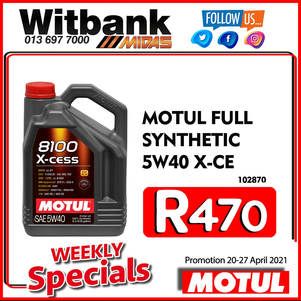 Motul Full Synthetic 5W40 X-CE ONLY R470 at Midas Witbank!