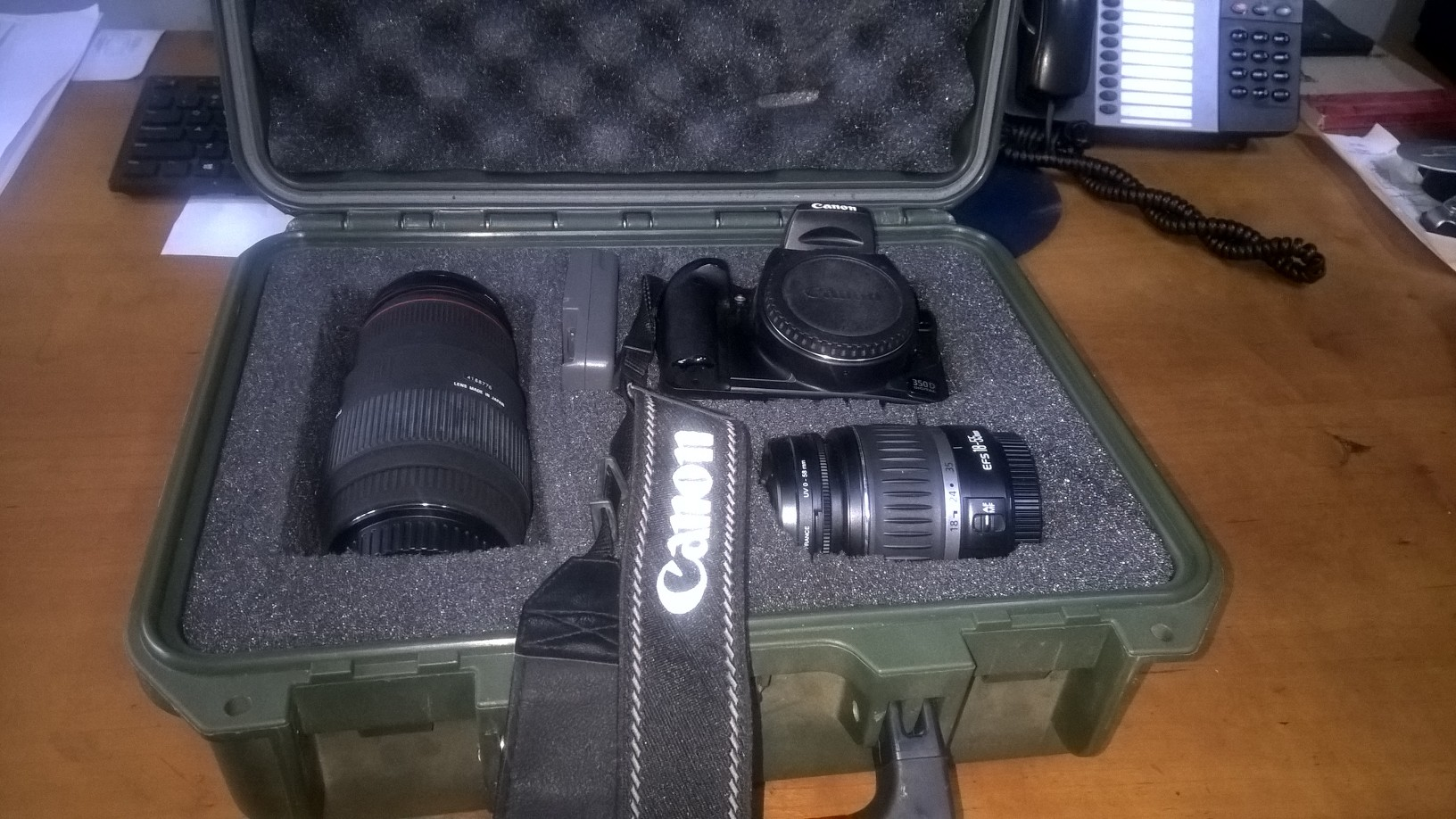 Canon 350 D with 2 lenses , charger and water proof carry case .