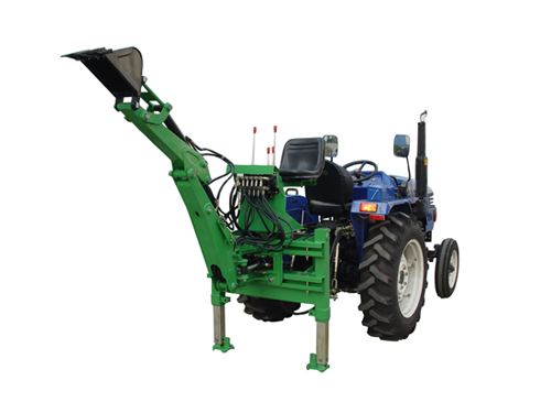 Hydraulic backhoe with movable frame and mechanical lock