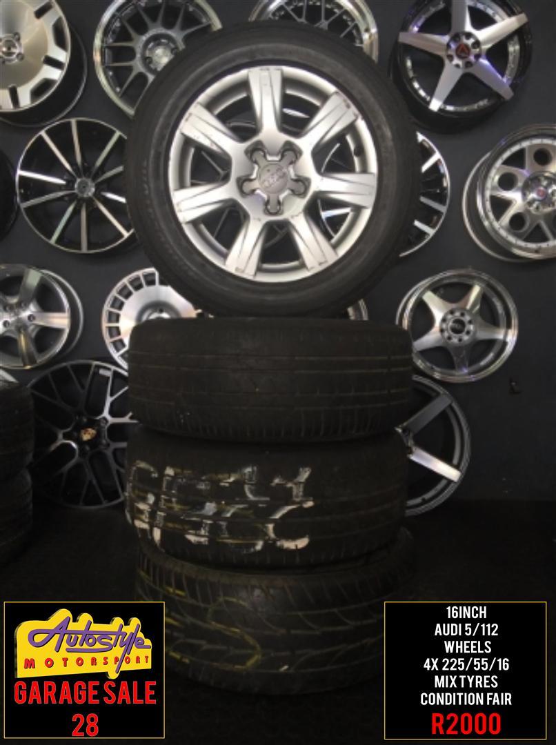 Garage Sale 28 rims tyres alloy mags wheels R2000 16 inch Audi Wheels 5-112pcd