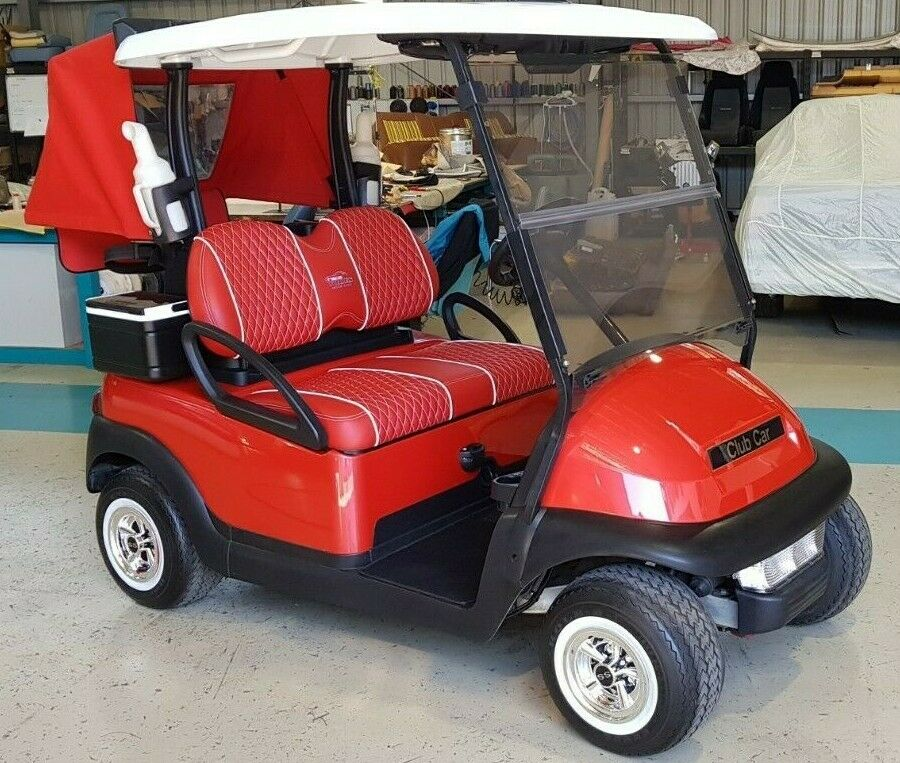 Most Beautiful Golf Cart All Year With Red Leather and Rain Cover
