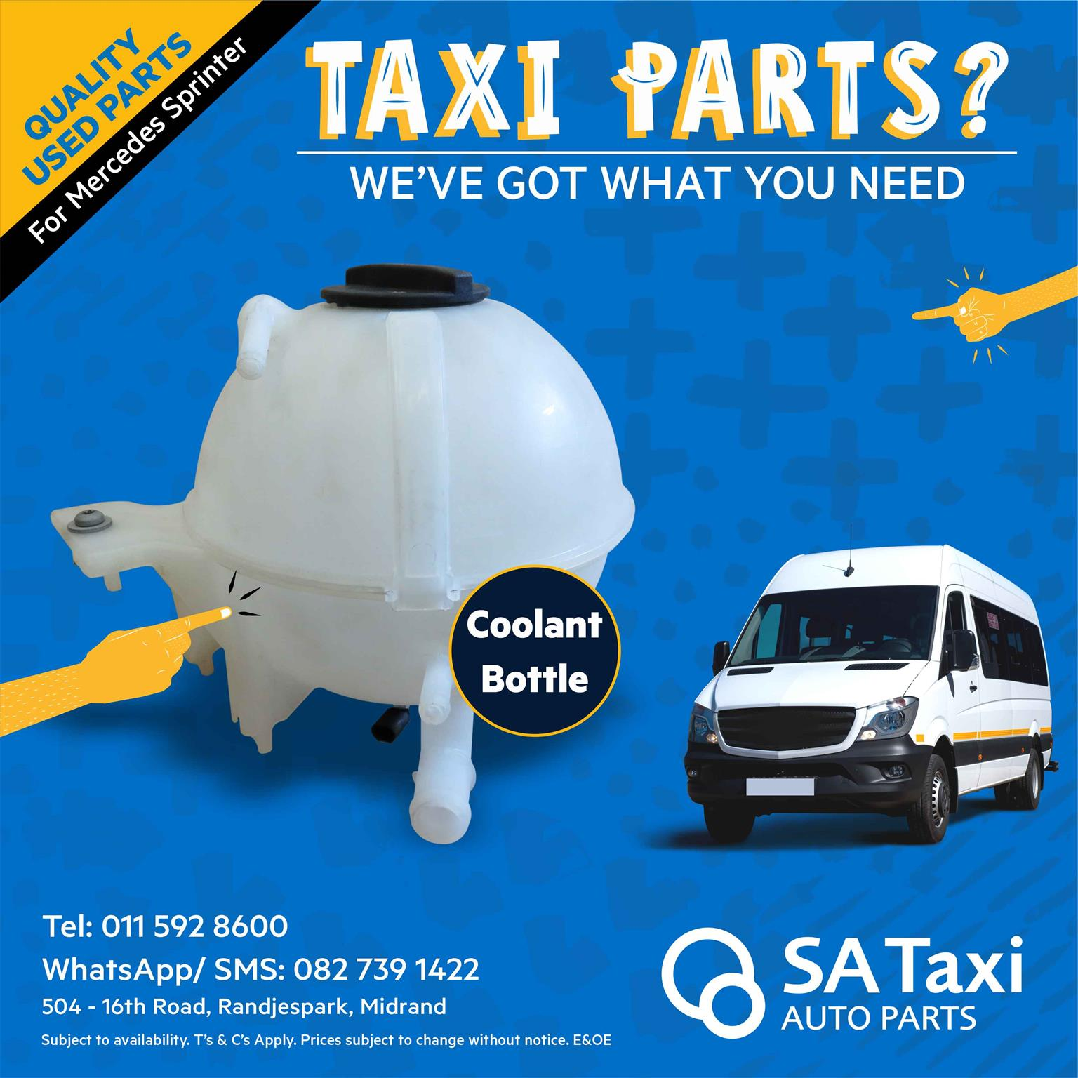 Coolant Bottle suitable for Mercedes Sprinter - SA Taxi Auto Parts quality used spares