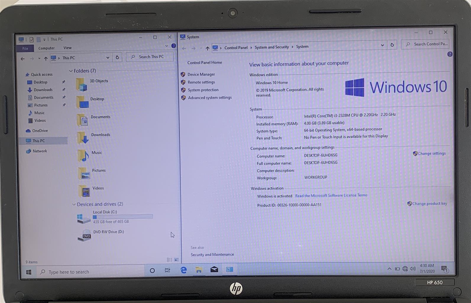 Intel Core i3 HP Laptop