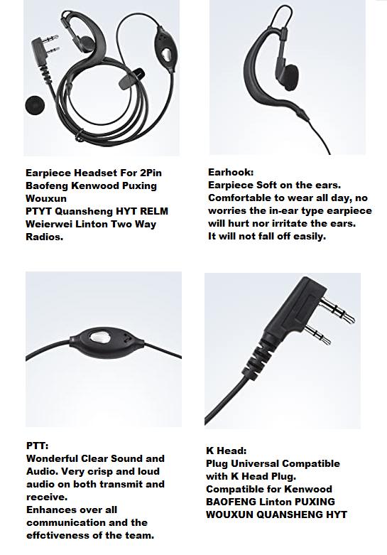 Earpiece Headset (Singles) PTT for Two-Way Walkie Talkie Radios / Transceivers.