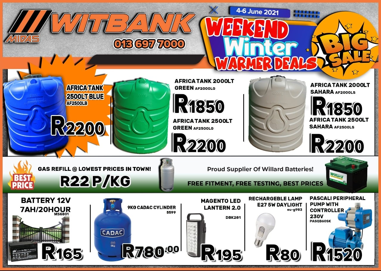 Weekend Winter Warmer Deals now on Midas Witbank!